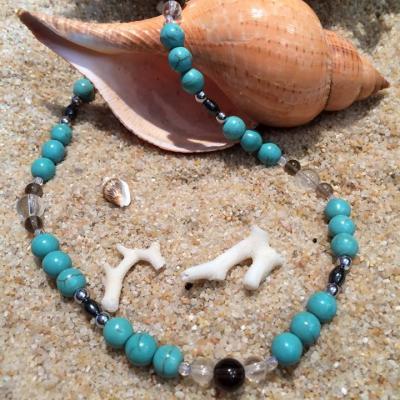 Collier TAILLE M mal au dos,  arthrose en Turquoise, cristal de roche, quartz fumé, hématite magnétique et aimant magnétique.