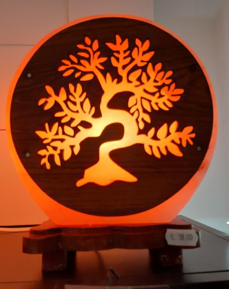 Lampe de sel de l'himalaya artisanale arbre de vie