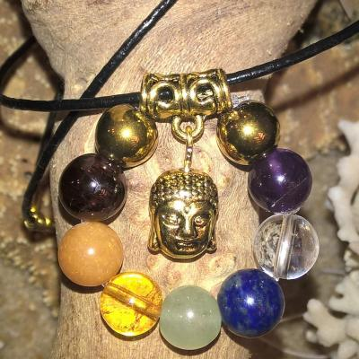 Pierres 7 chakras avec Bouddha en PENDENTIF REEQUILIBRANT (doré ou argenté)