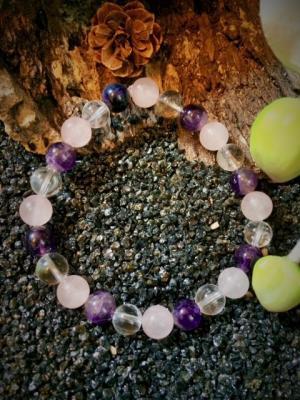 BRACELET ANTI-STRESS (Améthyste, Quartz rose et Cristal de roche)