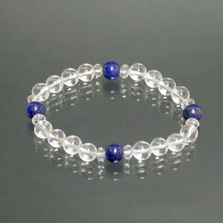 Bracelet cristal de roche et lapis lazuli 8mm les 5 pcs