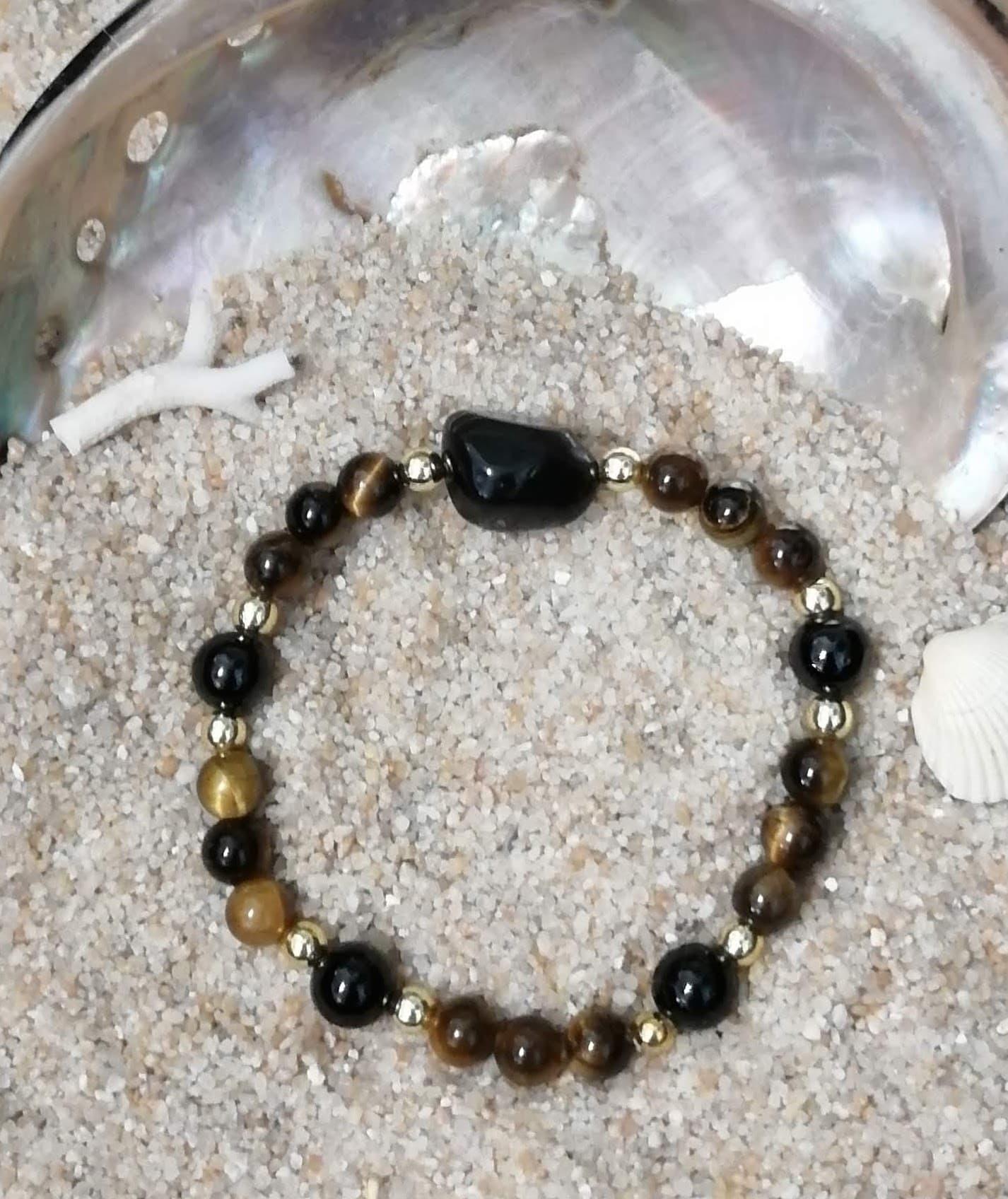 Bracelet oeil de tigre larme d apache et spinelle noir