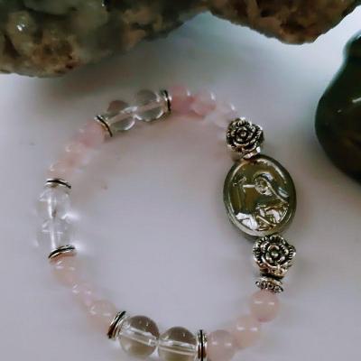 Quartz rose et Cristal de roche avec Médaille de Ste Rita-Bracelet de protection et d'harmonie dans le couple