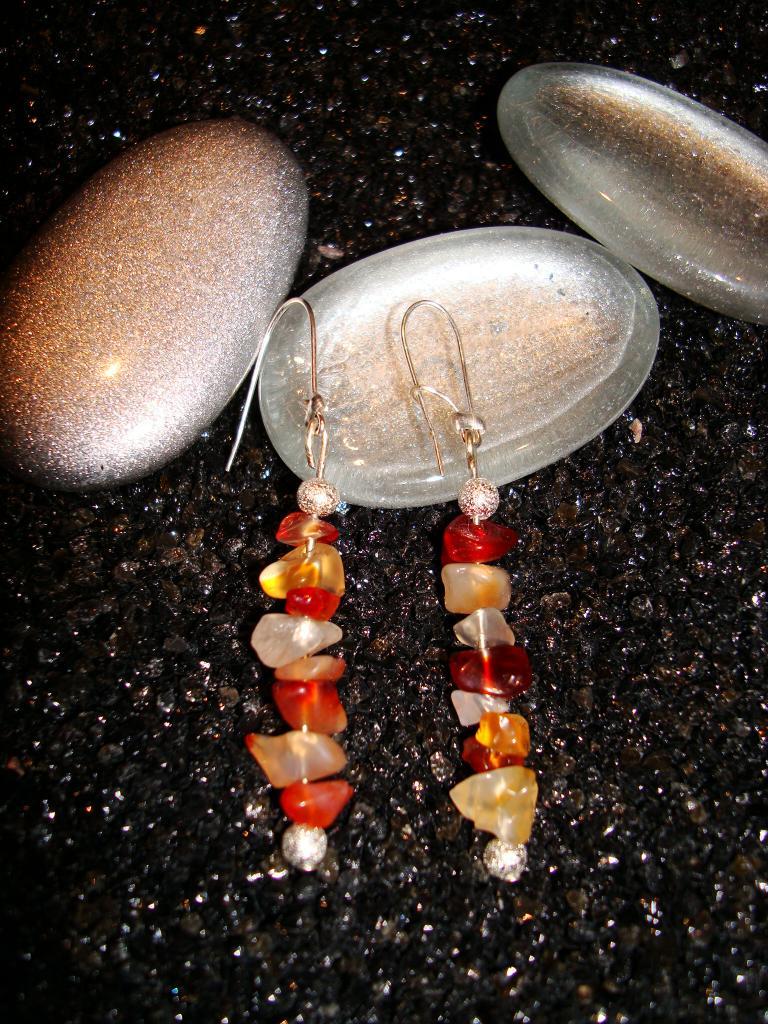 Boucles d'oreilles agate rouge