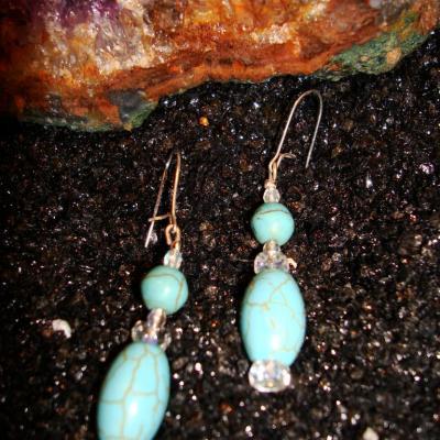 Boucles d'oreilles en Turquoise et Cristal de Roche