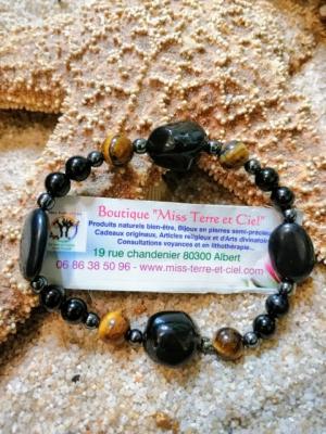 BRACELET CHANCE-DOULEUR ET HAUTE PROTECTION (larme d'apache-oeil de tigre-spinelle noir-magnetite-hematite)