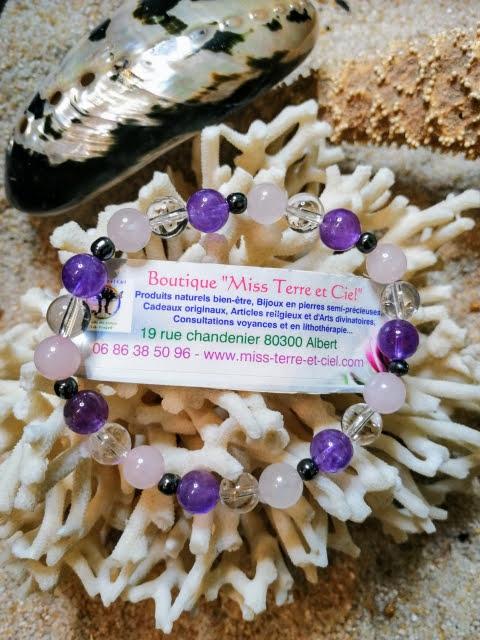 bracelet détente amethyste quartz rose hématite
