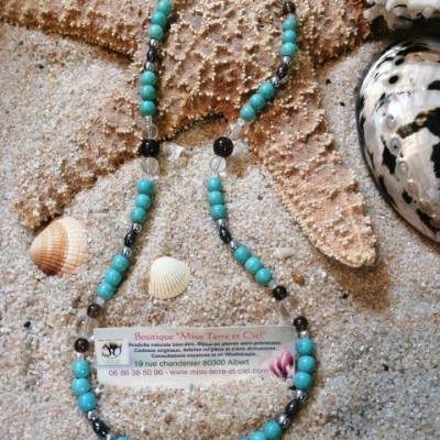 Turquoise, Cristal de roche et Hématie Collier spécial mal de dos et soulager l'arthrose