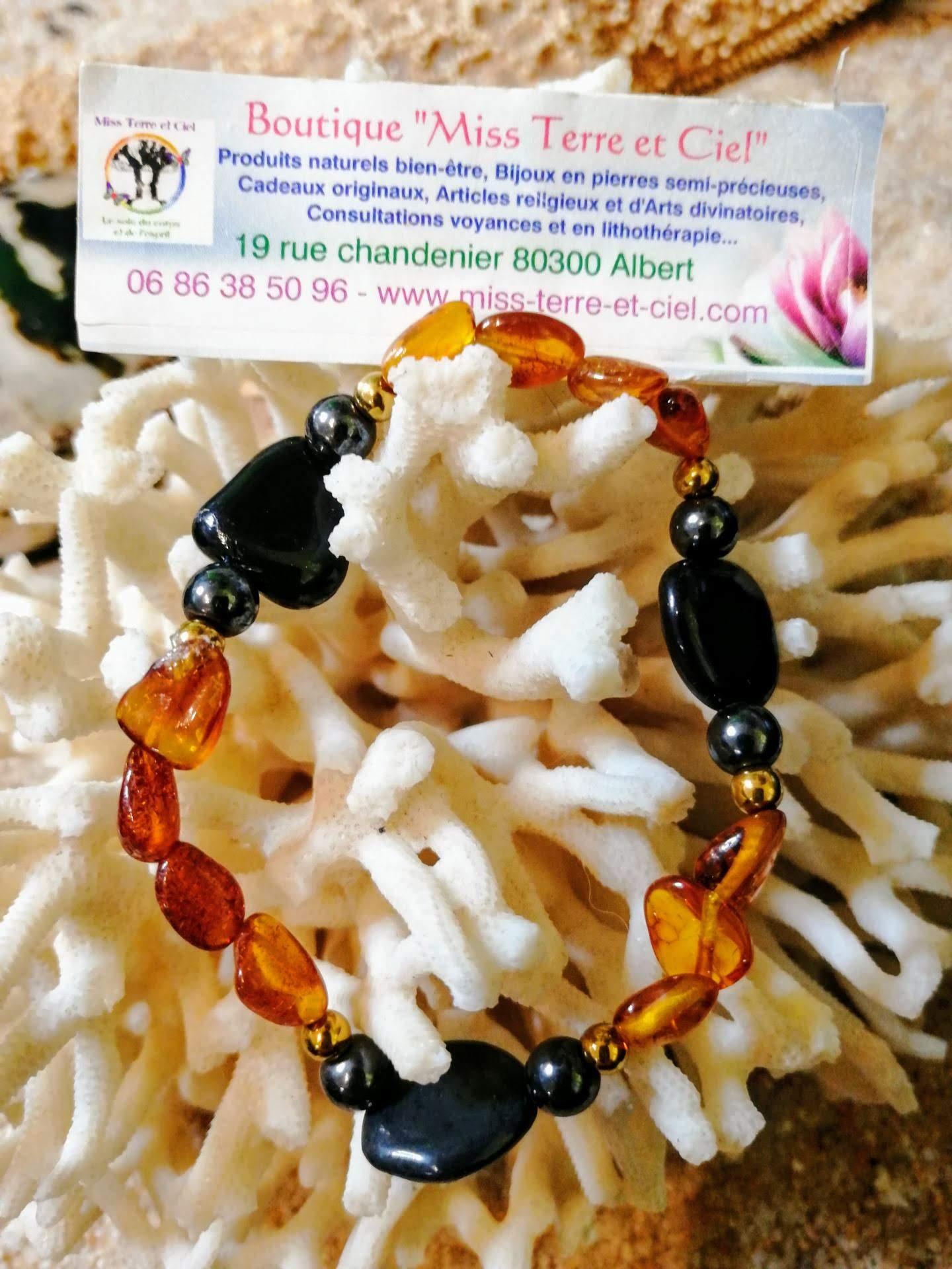 bracelet special douleur ambre magnétite hématite