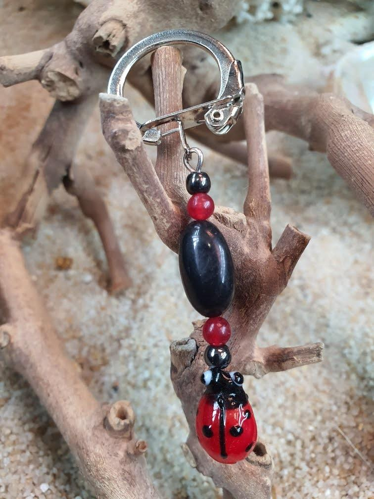 Porte cle jade rouge coccinelle