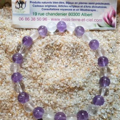 Bracelet SPECIAL DETENTE (quartz rose-amethyste)